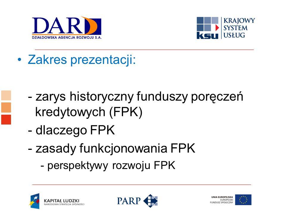 - zarys historyczny funduszy poręczeń kredytowych (FPK) - dlaczego FPK