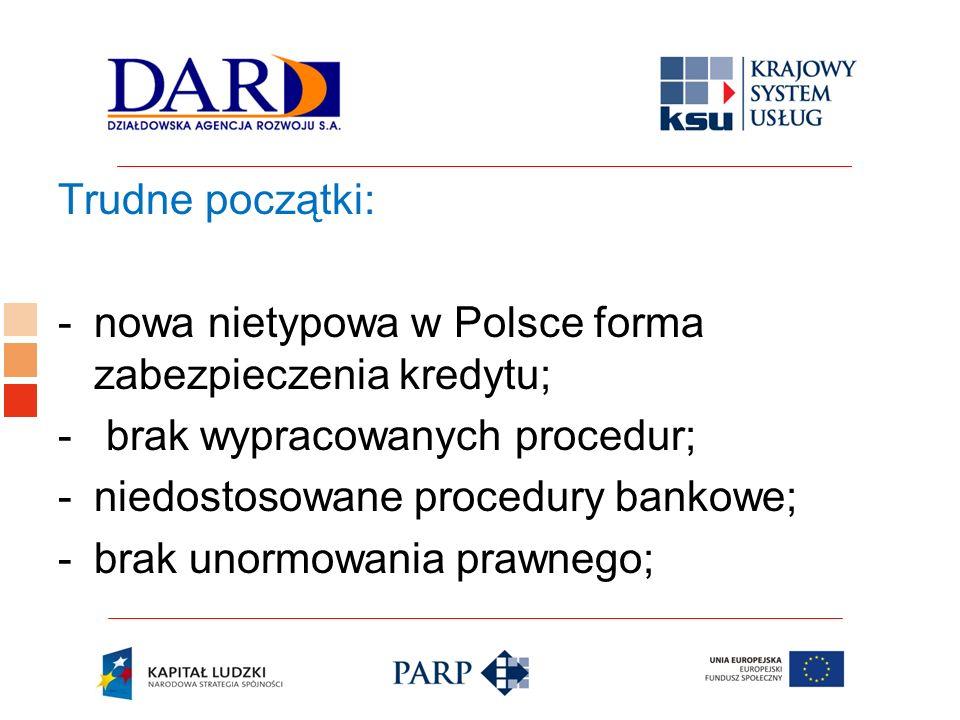 Trudne początki:nowa nietypowa w Polsce forma zabezpieczenia kredytu; brak wypracowanych procedur; niedostosowane procedury bankowe;