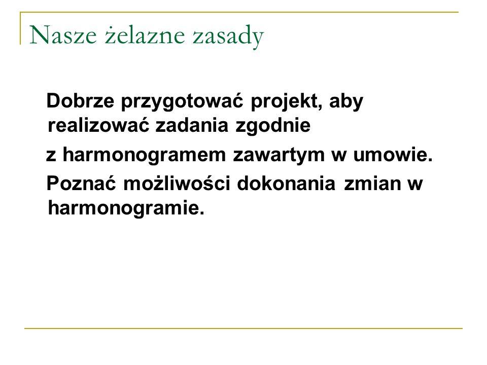 Nasze żelazne zasadyDobrze przygotować projekt, aby realizować zadania zgodnie. z harmonogramem zawartym w umowie.