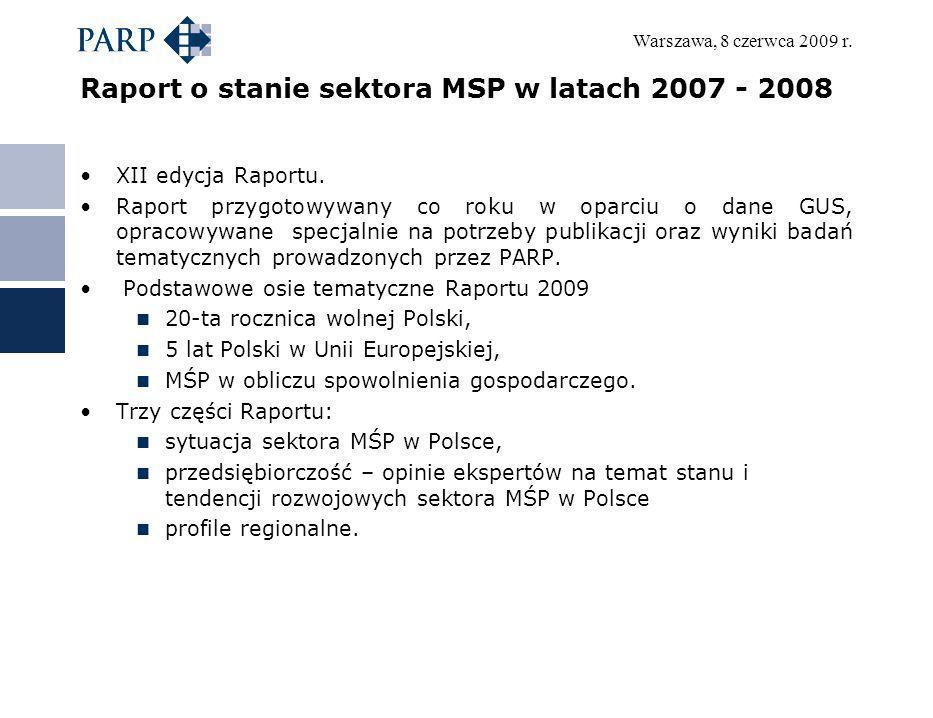 Raport o stanie sektora MSP w latach 2007 - 2008