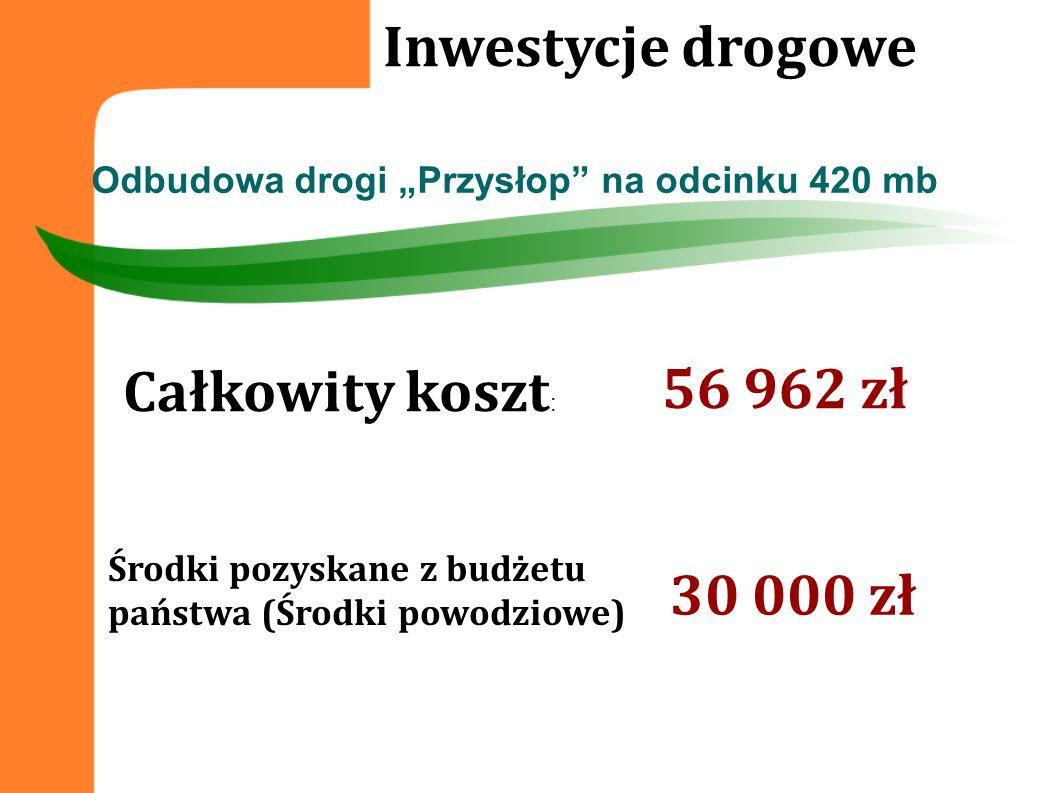 Inwestycje drogowe 56 962 zł Całkowity koszt: 30 000 zł