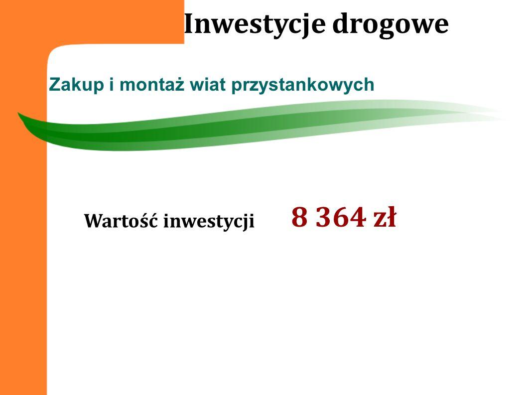 Inwestycje drogowe 8 364 zł Wartość inwestycji