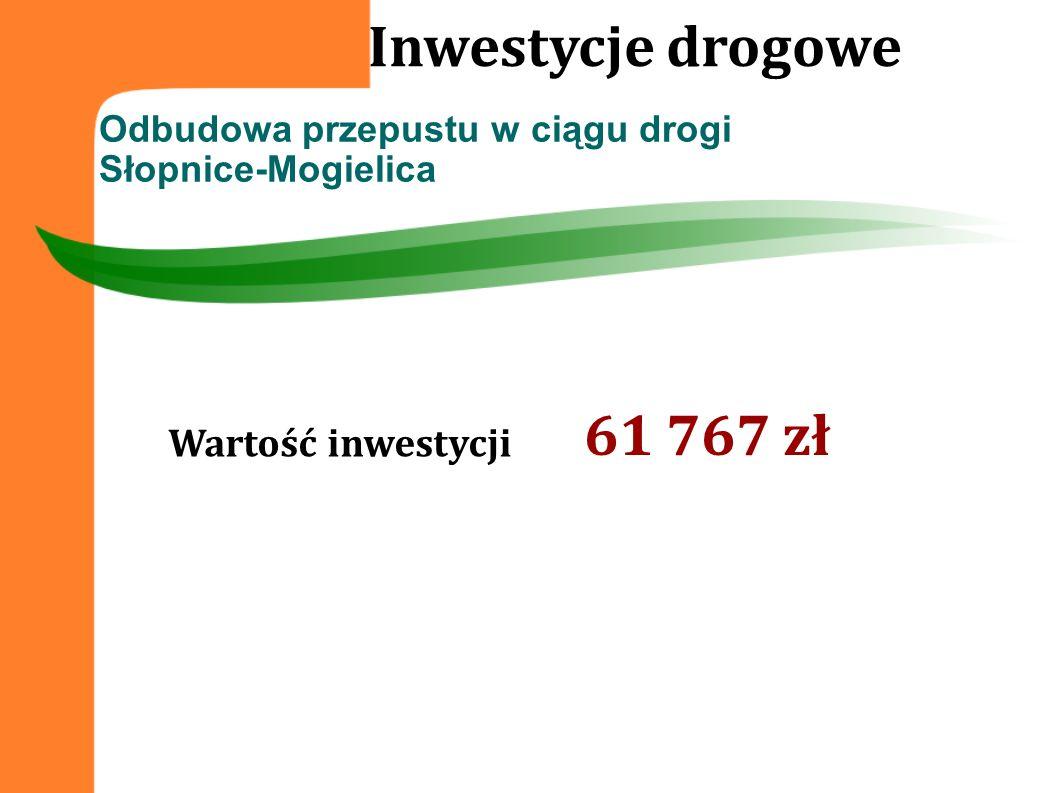 Inwestycje drogowe 61 767 zł Wartość inwestycji
