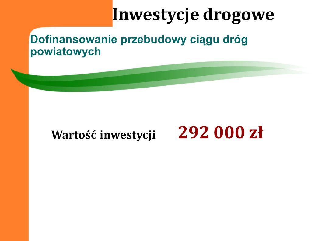 Inwestycje drogowe 292 000 zł Wartość inwestycji
