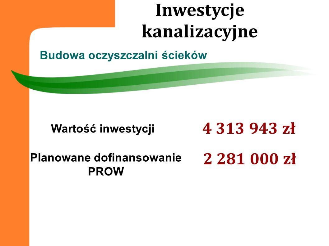 Inwestycje kanalizacyjne Planowane dofinansowanie