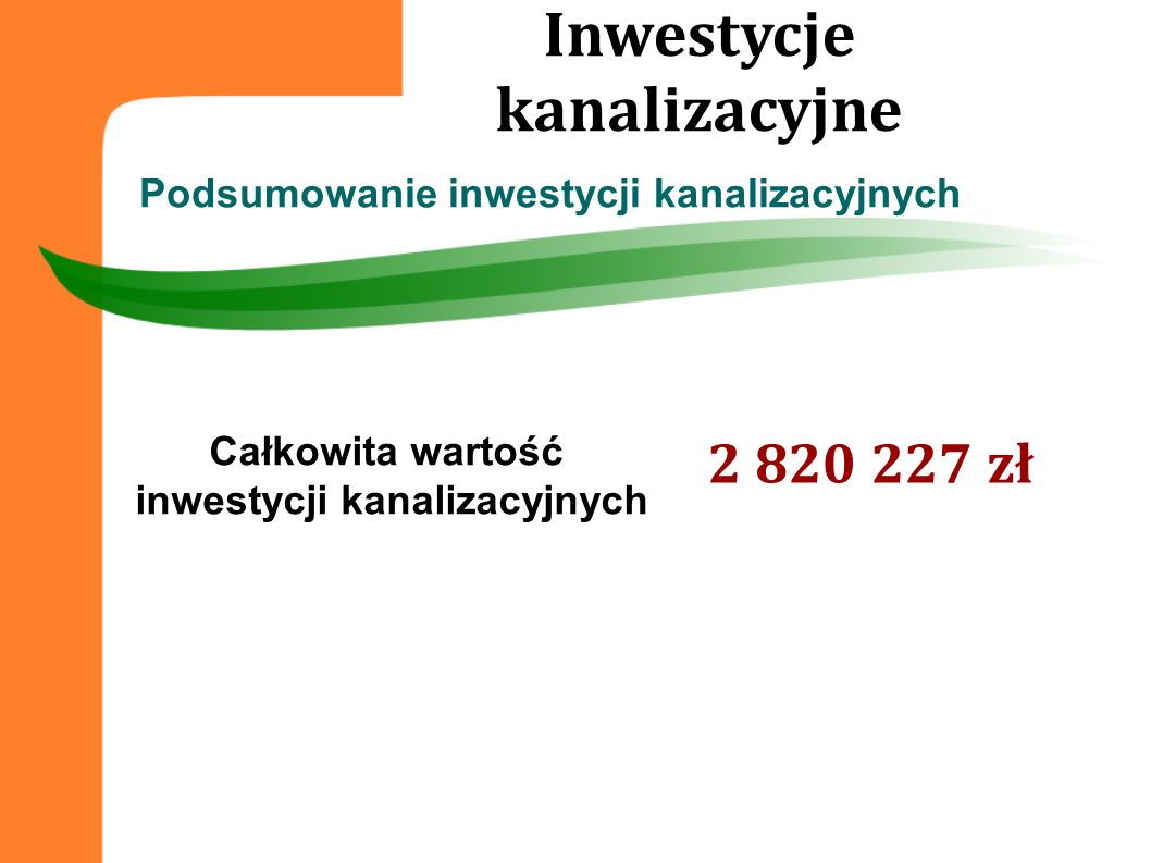 Inwestycje kanalizacyjne inwestycji kanalizacyjnych
