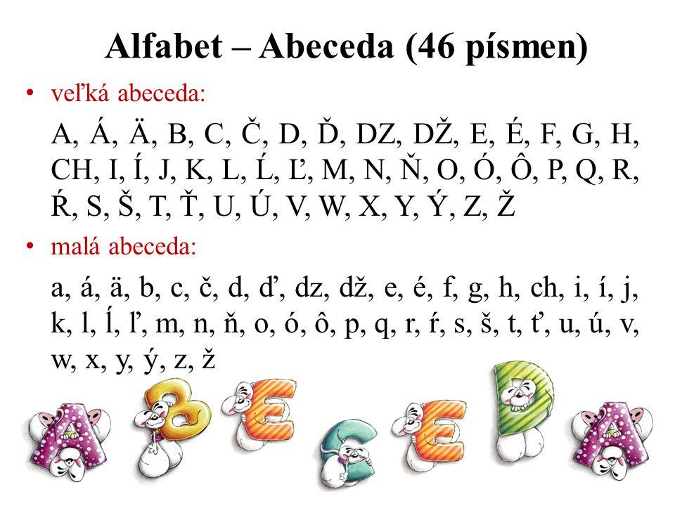 Alfabet – Abeceda (46 písmen)