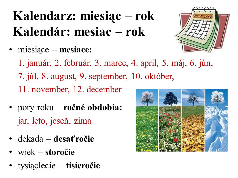 Kalendarz: miesiąc – rok Kalendár: mesiac – rok