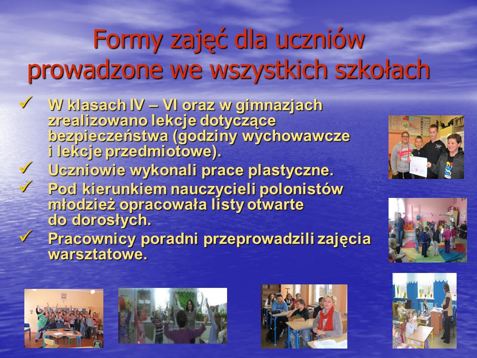 Formy zajęć dla uczniów prowadzone we wszystkich szkołach