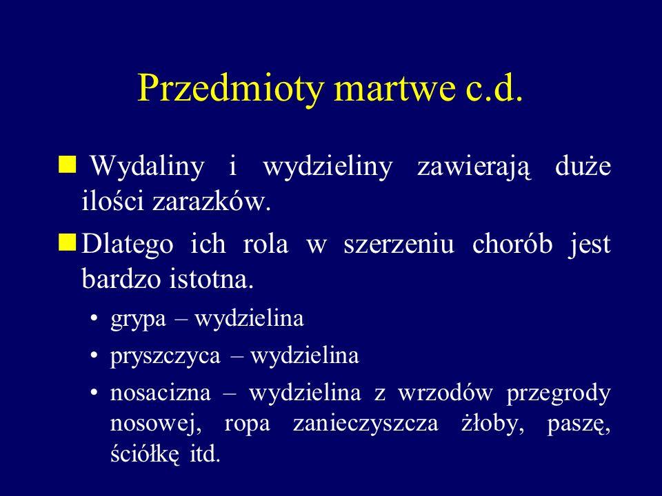 Przedmioty martwe c.d. Wydaliny i wydzieliny zawierają duże ilości zarazków. Dlatego ich rola w szerzeniu chorób jest bardzo istotna.