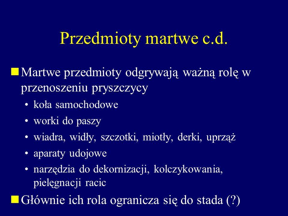 Przedmioty martwe c.d. Martwe przedmioty odgrywają ważną rolę w przenoszeniu pryszczycy. koła samochodowe.