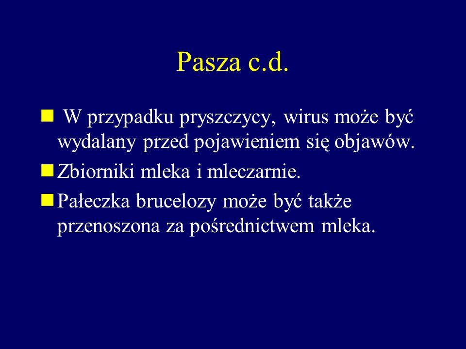 Pasza c.d. W przypadku pryszczycy, wirus może być wydalany przed pojawieniem się objawów. Zbiorniki mleka i mleczarnie.
