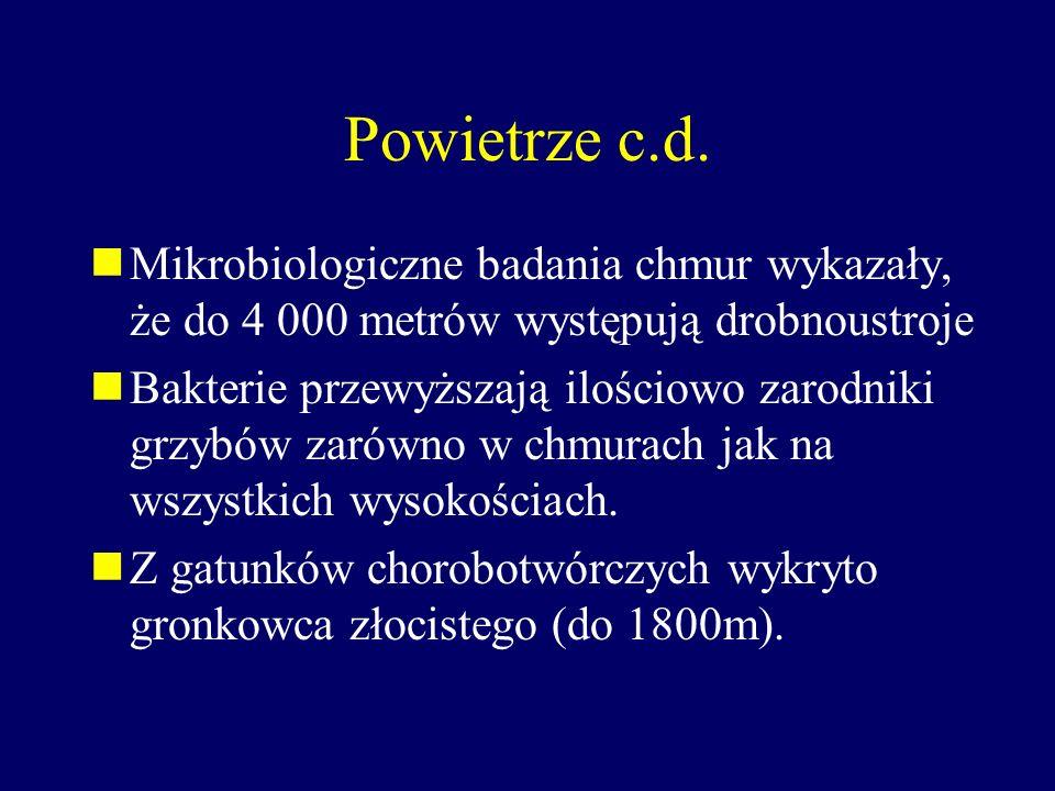 Powietrze c.d. Mikrobiologiczne badania chmur wykazały, że do 4 000 metrów występują drobnoustroje.