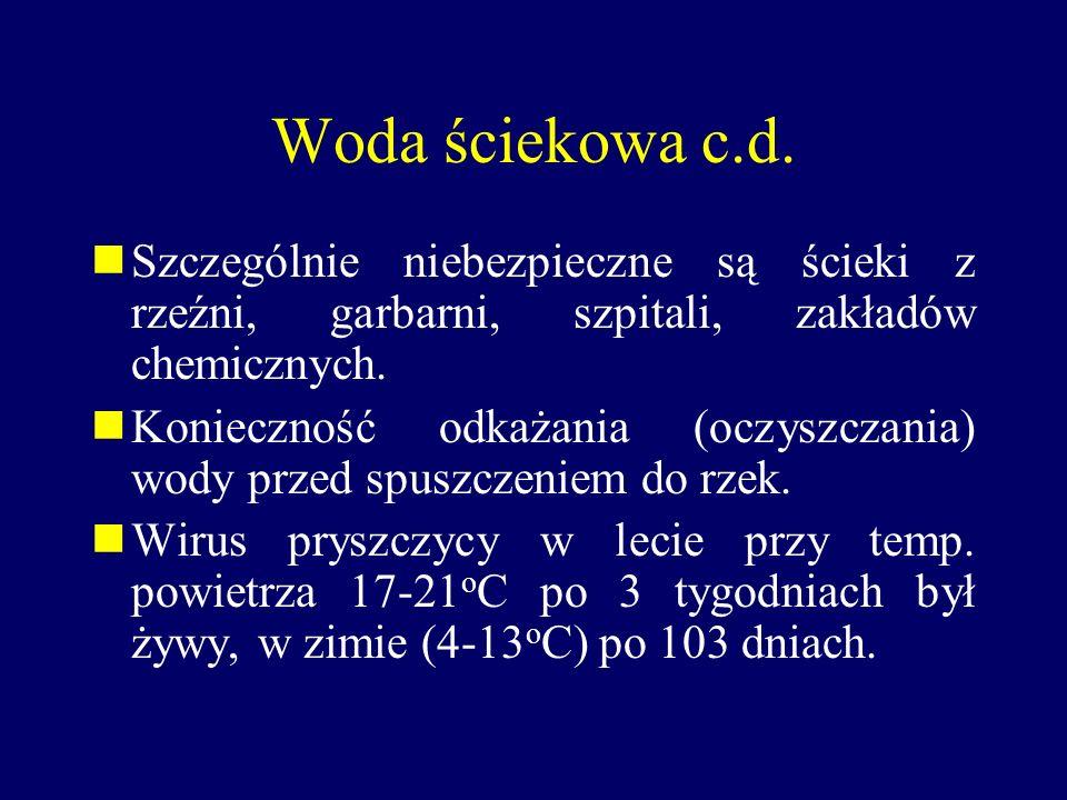 Woda ściekowa c.d. Szczególnie niebezpieczne są ścieki z rzeźni, garbarni, szpitali, zakładów chemicznych.
