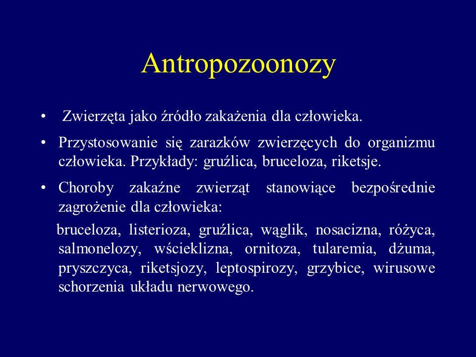 Antropozoonozy Zwierzęta jako źródło zakażenia dla człowieka.