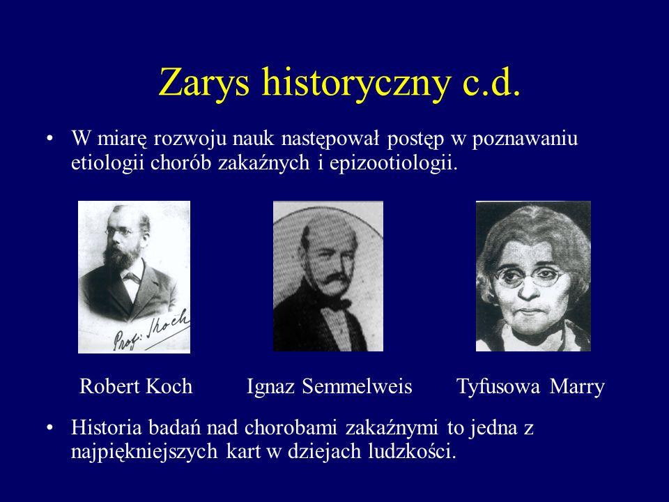 Zarys historyczny c.d. W miarę rozwoju nauk następował postęp w poznawaniu etiologii chorób zakaźnych i epizootiologii.
