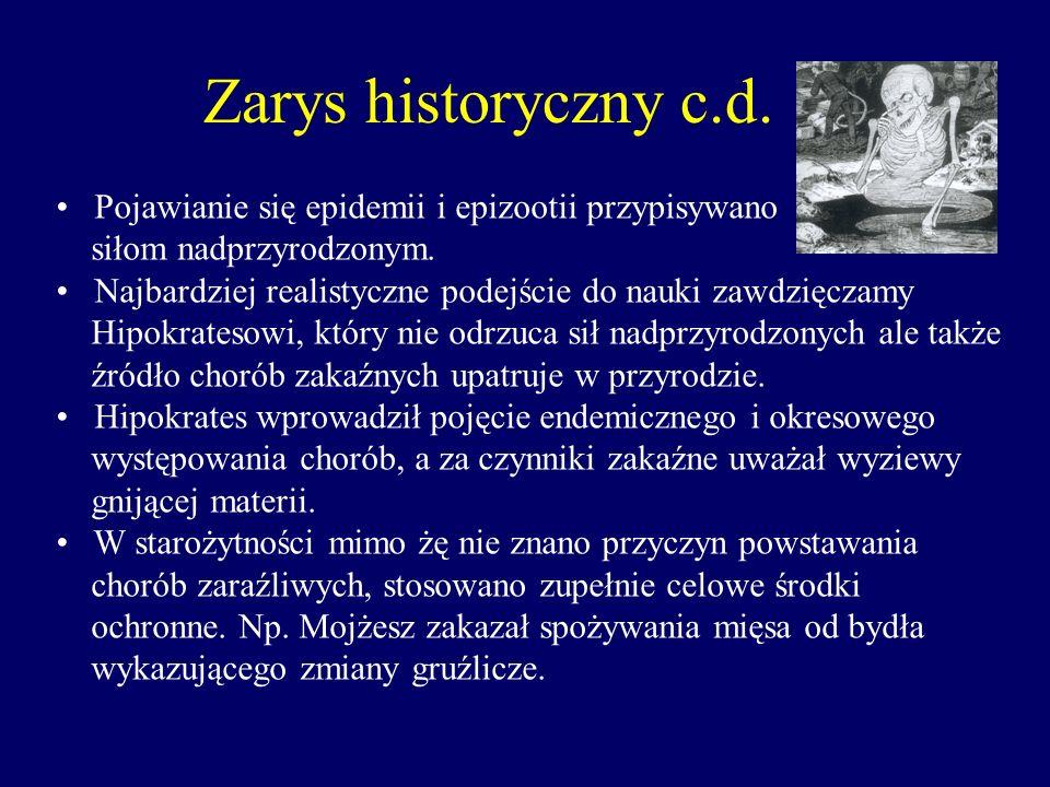 Zarys historyczny c.d. Pojawianie się epidemii i epizootii przypisywano. siłom nadprzyrodzonym.