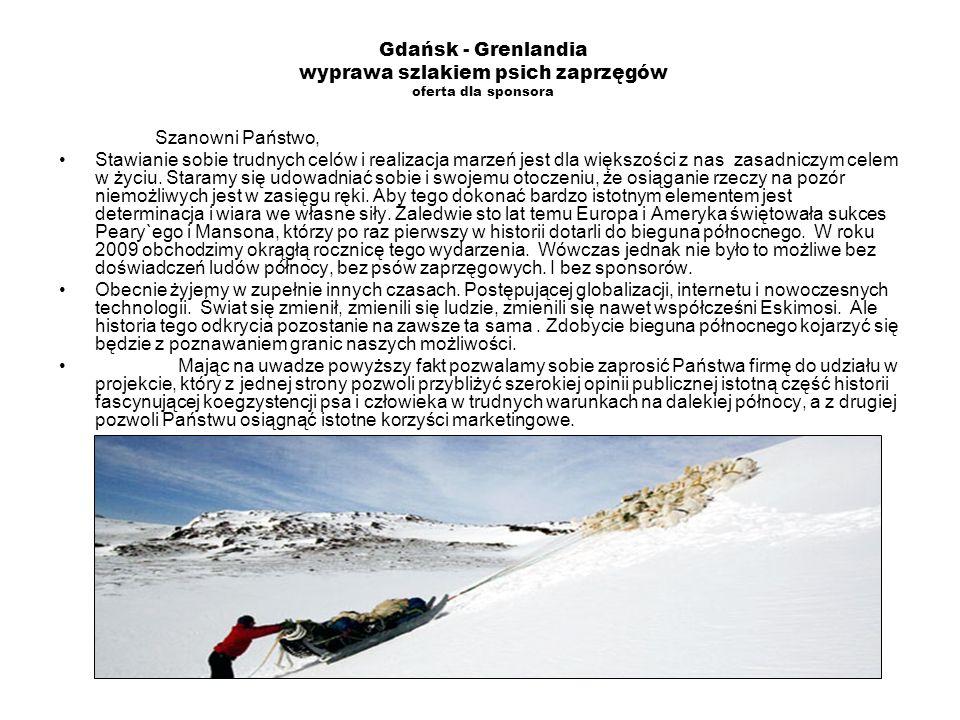 Gdańsk - Grenlandia wyprawa szlakiem psich zaprzęgów oferta dla sponsora