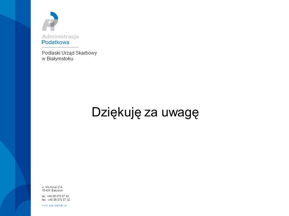 Dziękuję za uwagę Podlaski Urząd Skarbowy w Białymstoku