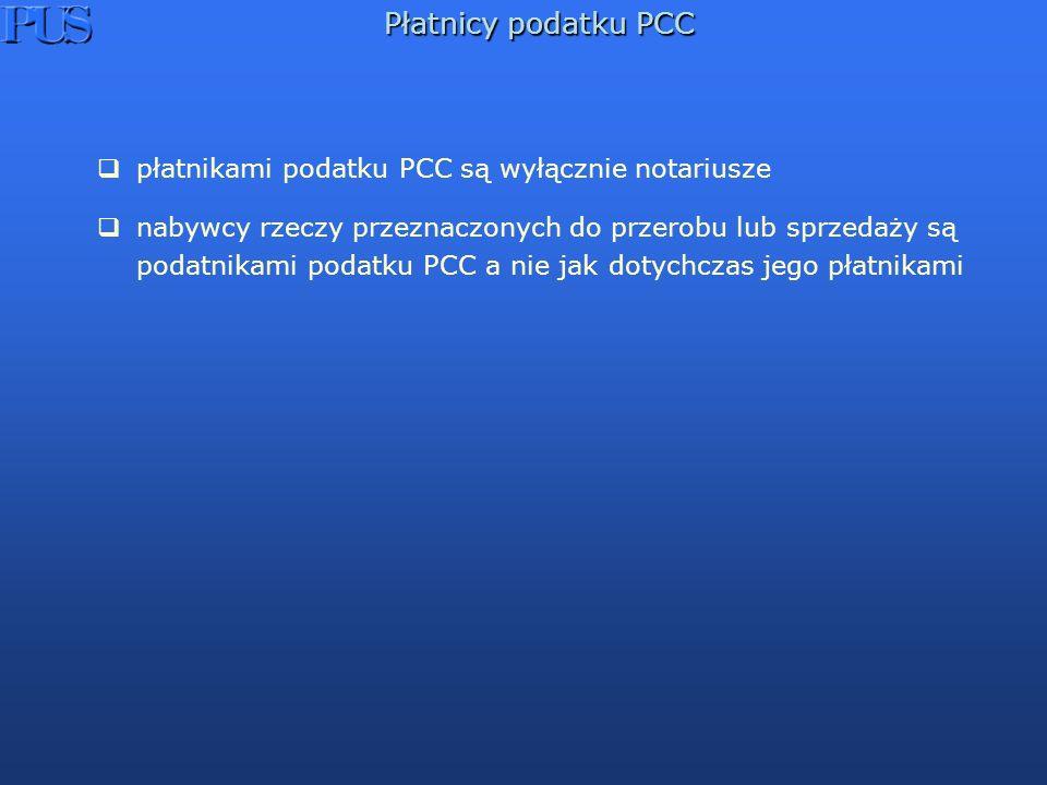 Płatnicy podatku PCC płatnikami podatku PCC są wyłącznie notariusze