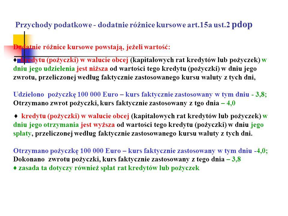 Przychody podatkowe - dodatnie różnice kursowe art.15a ust.2 pdop