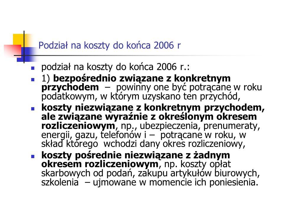 Podział na koszty do końca 2006 r