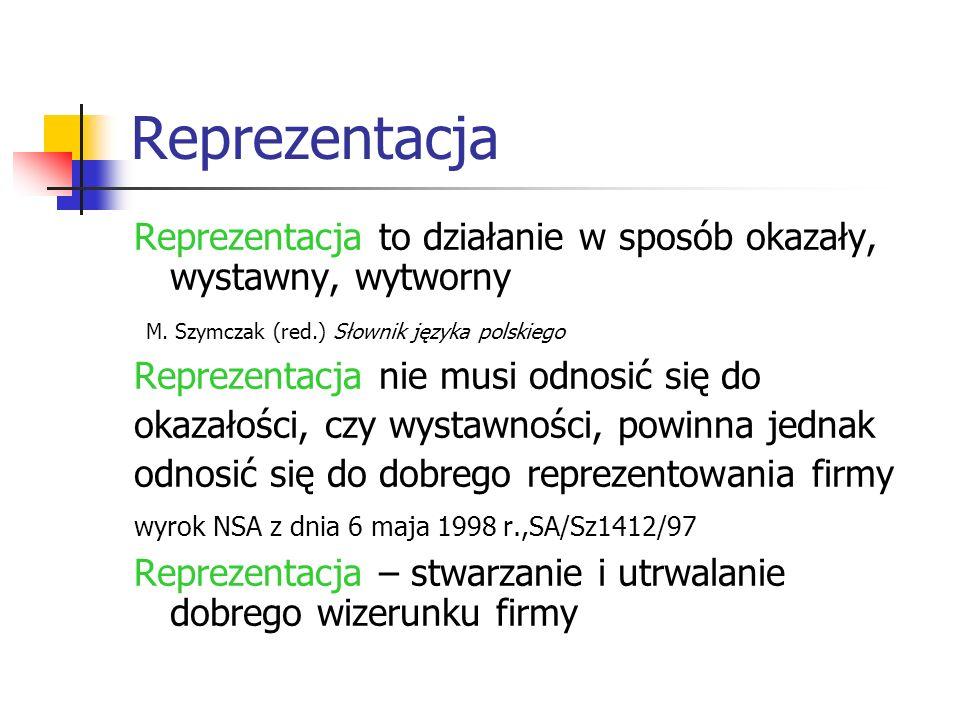 Reprezentacja Reprezentacja to działanie w sposób okazały, wystawny, wytworny. M. Szymczak (red.) Słownik języka polskiego.