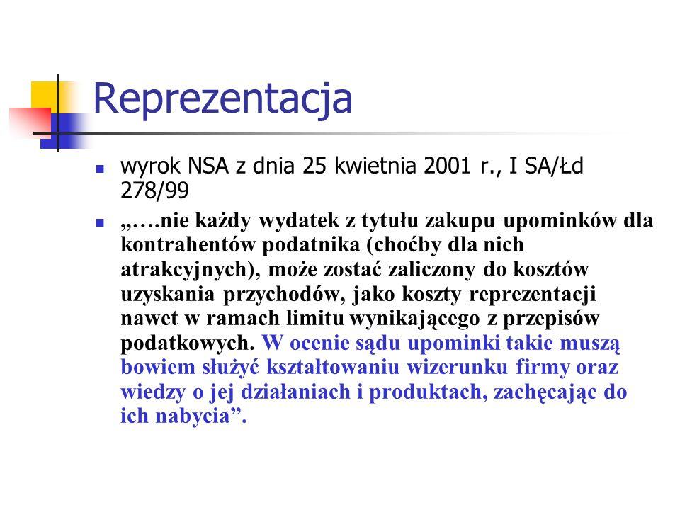 Reprezentacja wyrok NSA z dnia 25 kwietnia 2001 r., I SA/Łd 278/99