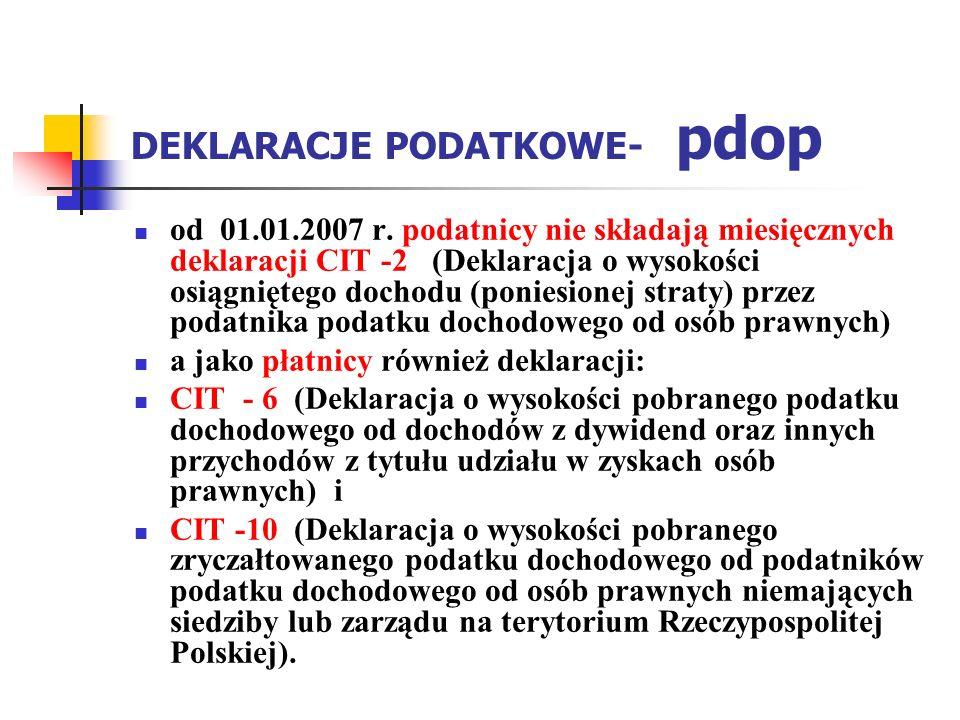 DEKLARACJE PODATKOWE- pdop