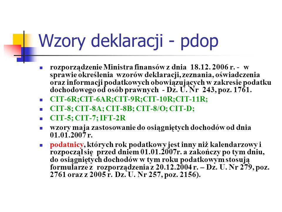 Wzory deklaracji - pdop
