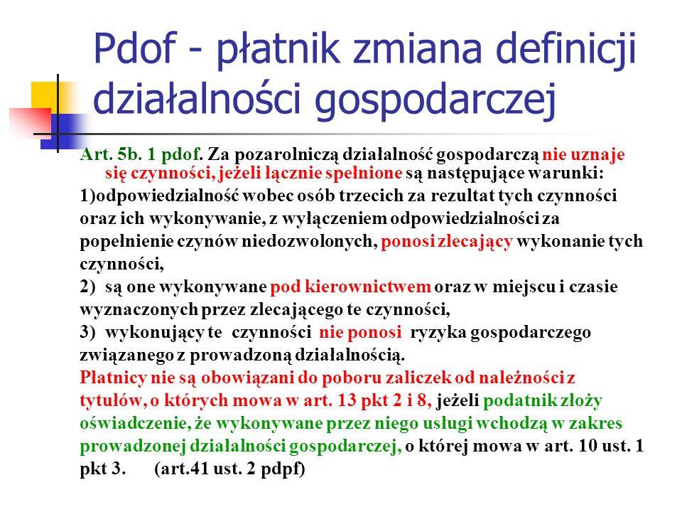 Pdof - płatnik zmiana definicji działalności gospodarczej