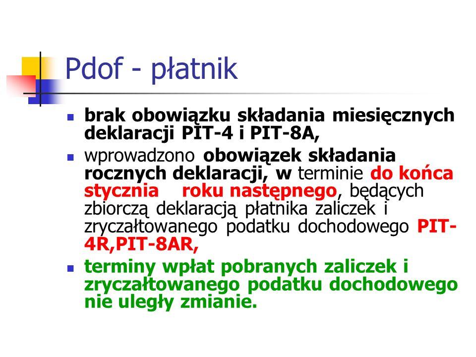 Pdof - płatnik brak obowiązku składania miesięcznych deklaracji PIT-4 i PIT-8A,