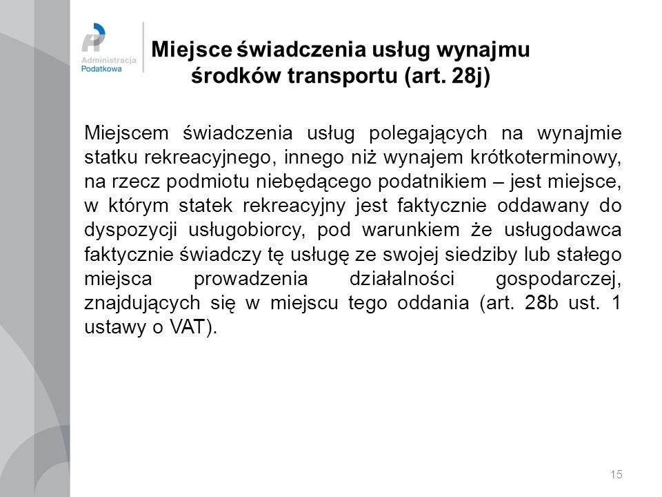 Miejsce świadczenia usług wynajmu środków transportu (art. 28j)
