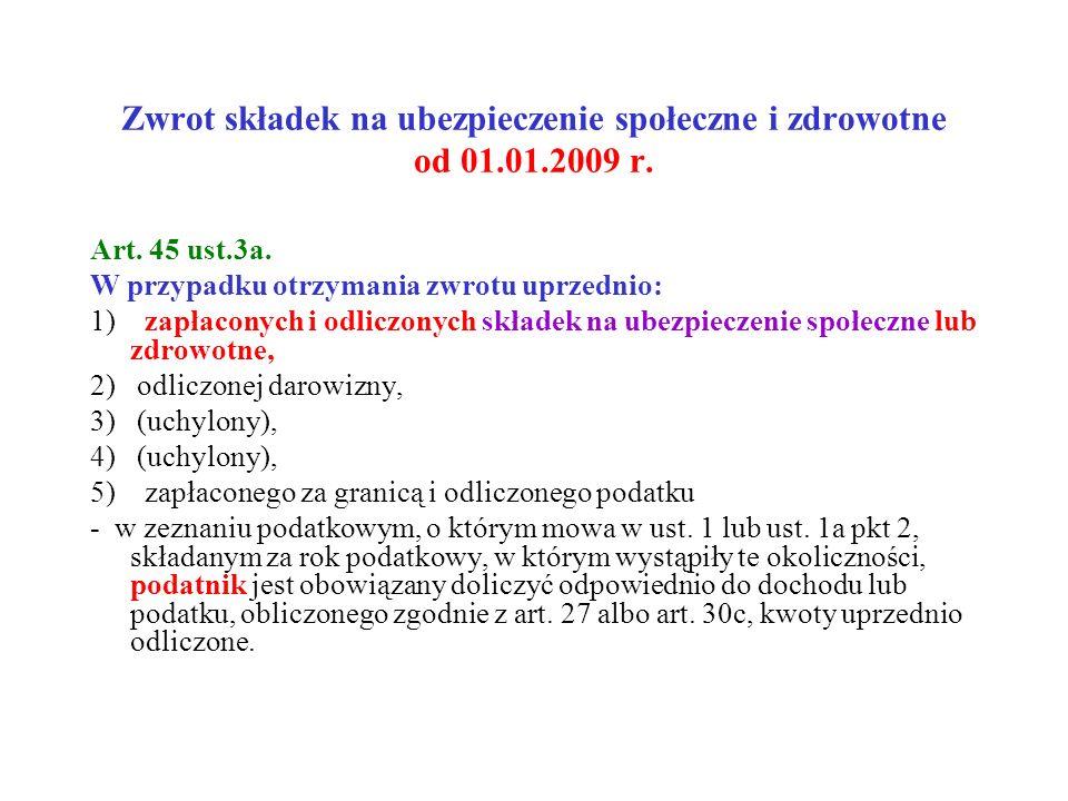 Zwrot składek na ubezpieczenie społeczne i zdrowotne od 01.01.2009 r.