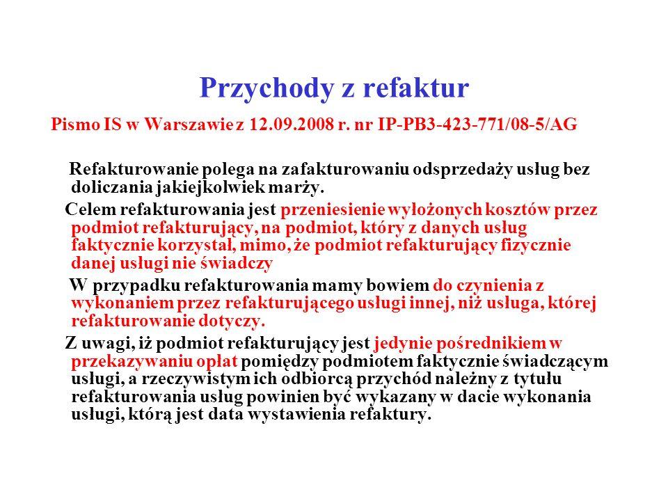 Przychody z refaktur Pismo IS w Warszawie z 12.09.2008 r. nr IP-PB3-423-771/08-5/AG.