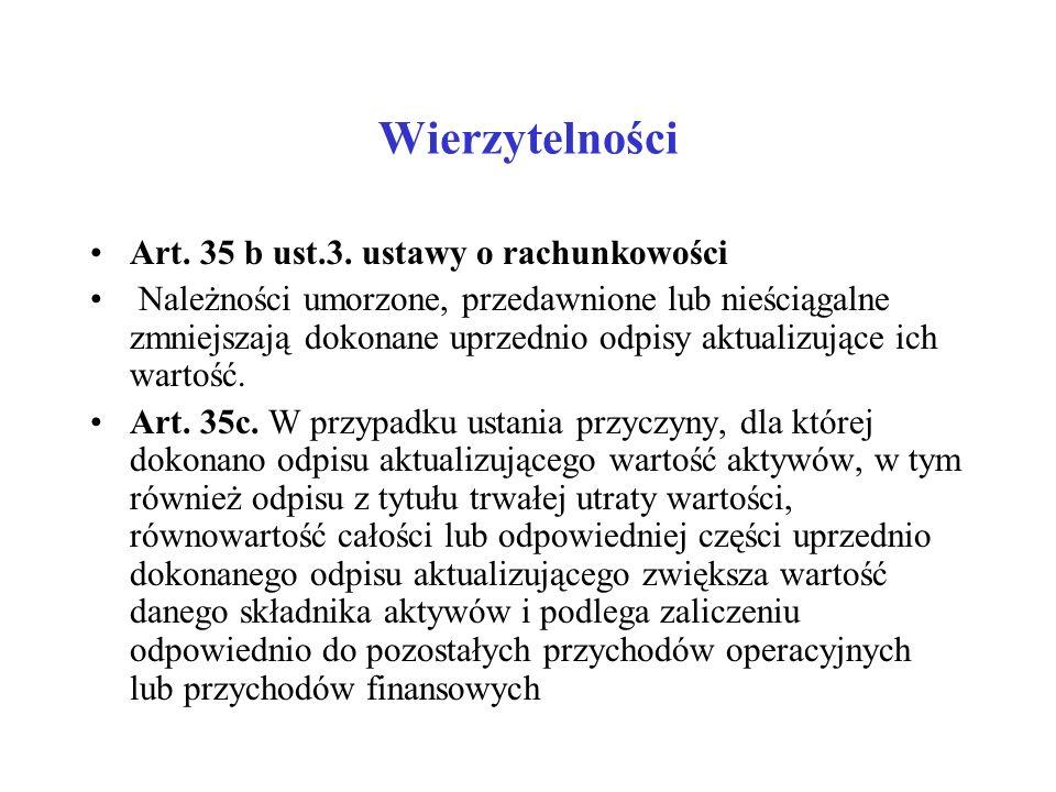 Wierzytelności Art. 35 b ust.3. ustawy o rachunkowości