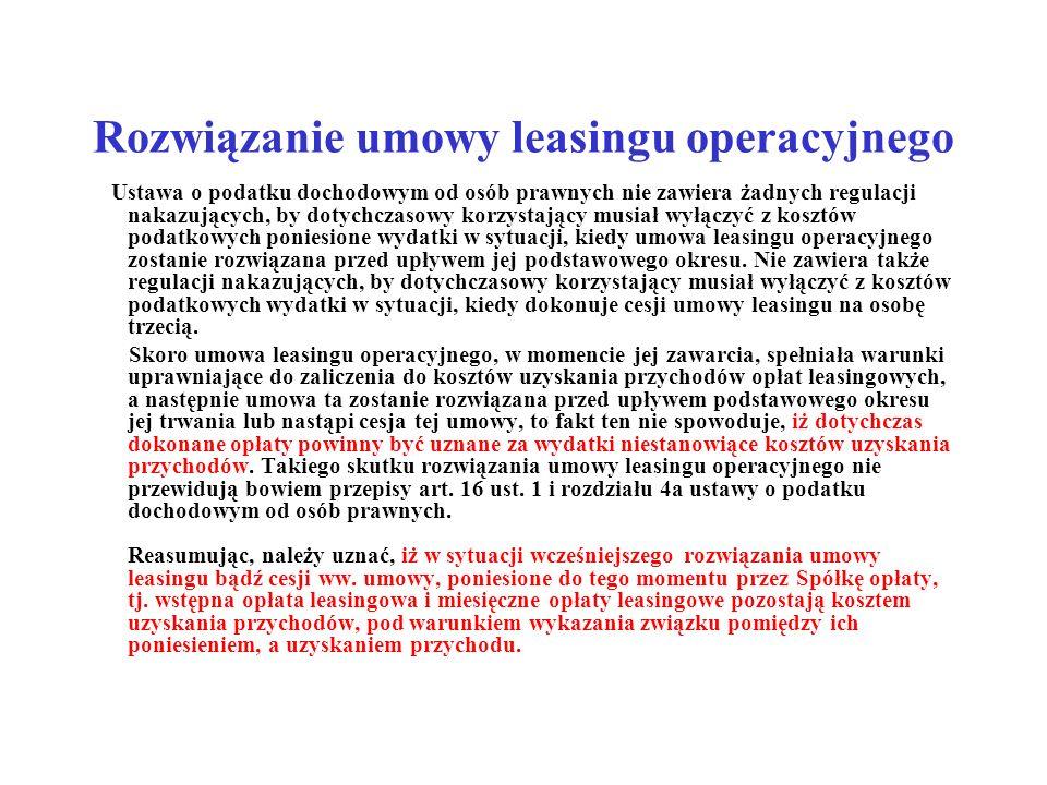 Rozwiązanie umowy leasingu operacyjnego