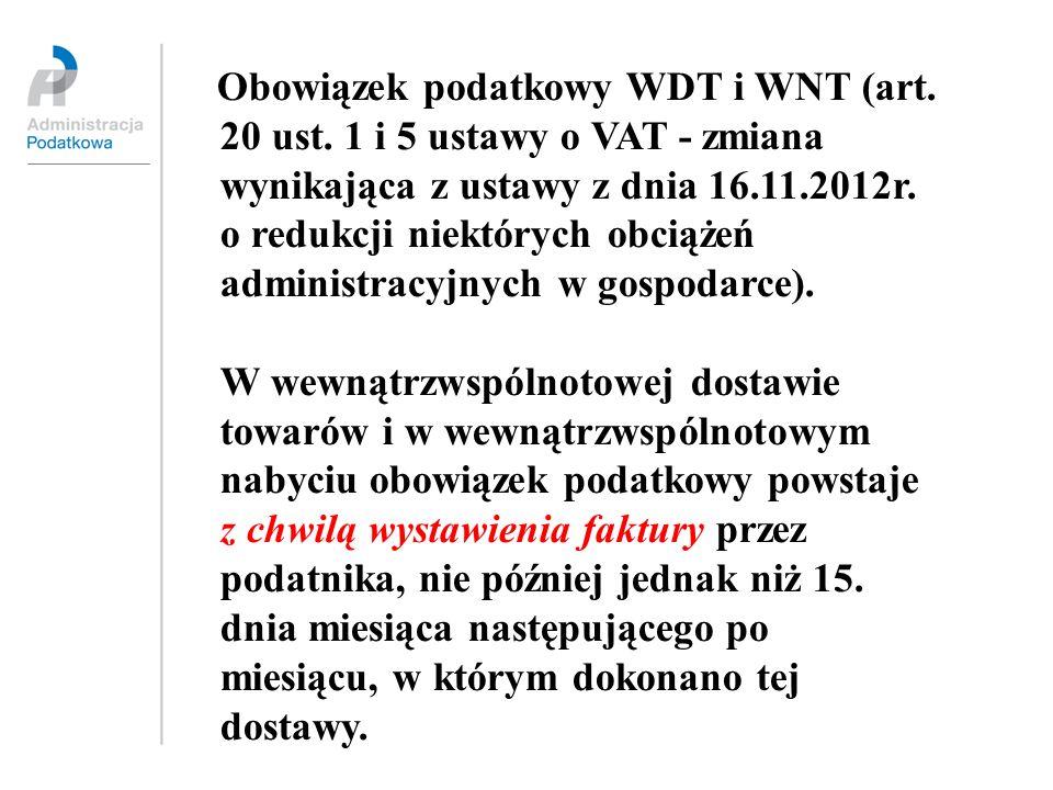 Obowiązek podatkowy WDT i WNT (art. 20 ust