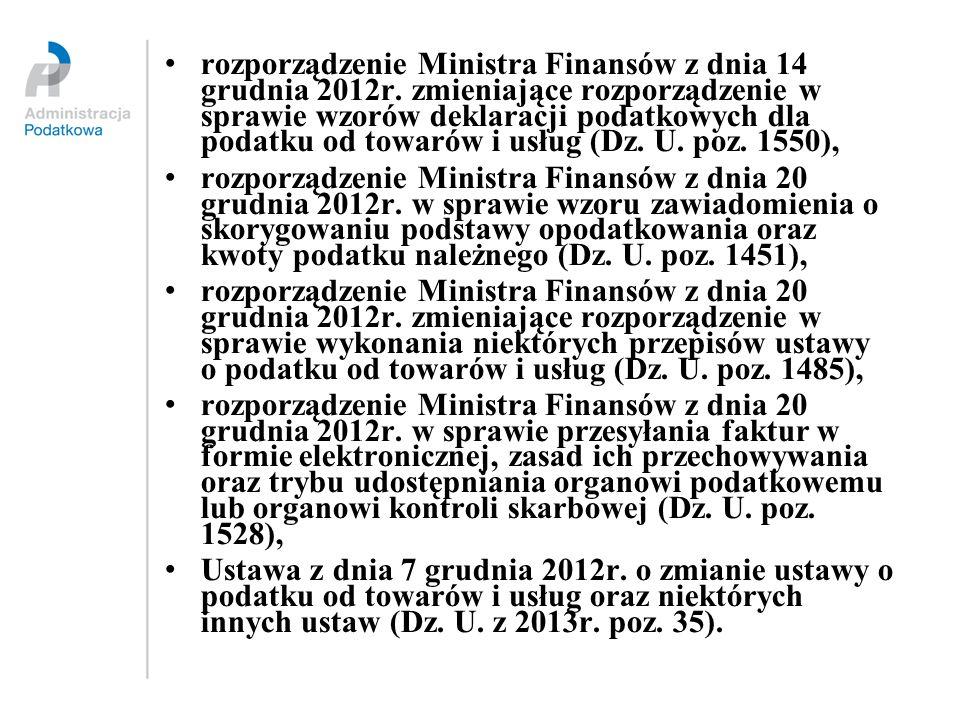 rozporządzenie Ministra Finansów z dnia 14 grudnia 2012r