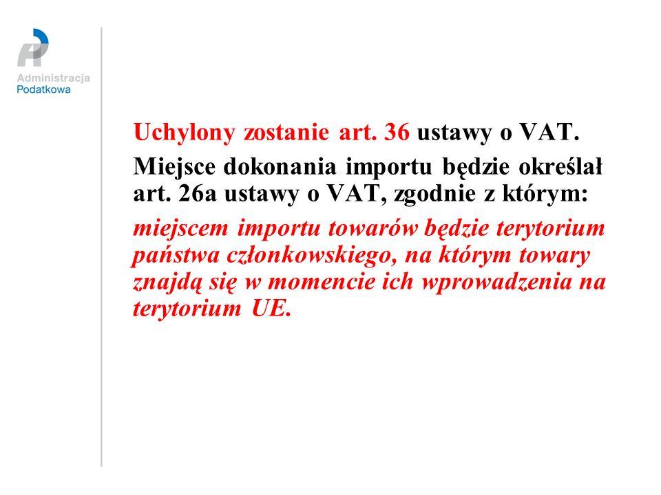 Uchylony zostanie art. 36 ustawy o VAT.