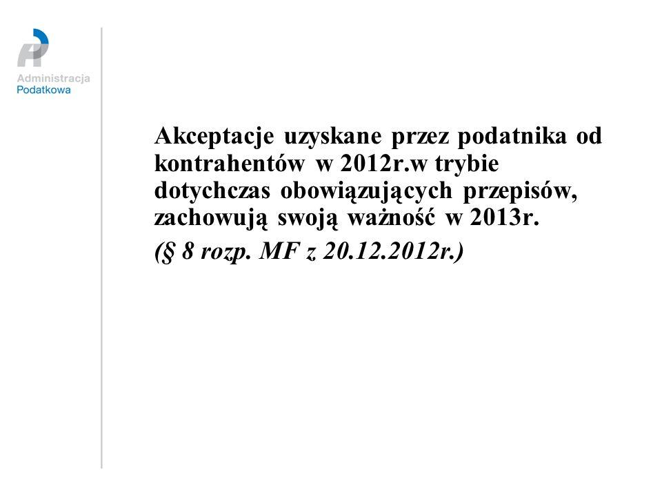 Akceptacje uzyskane przez podatnika od kontrahentów w 2012r