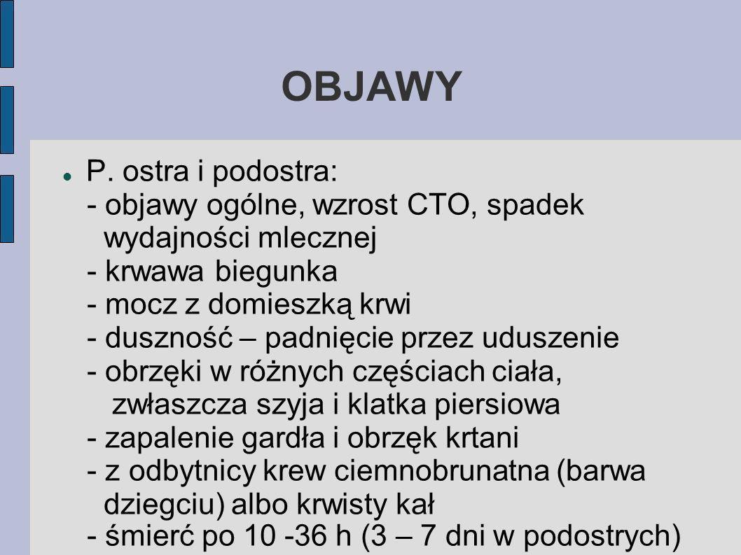OBJAWY P. ostra i podostra: - objawy ogólne, wzrost CTO, spadek