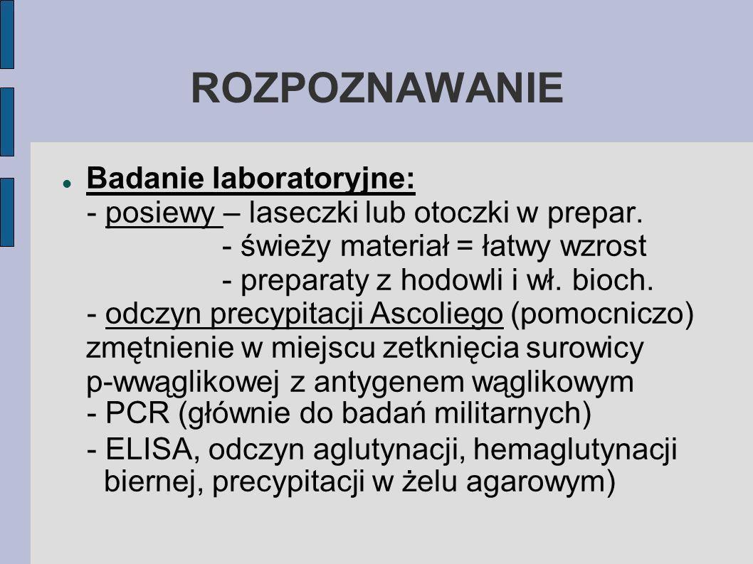 ROZPOZNAWANIE Badanie laboratoryjne: