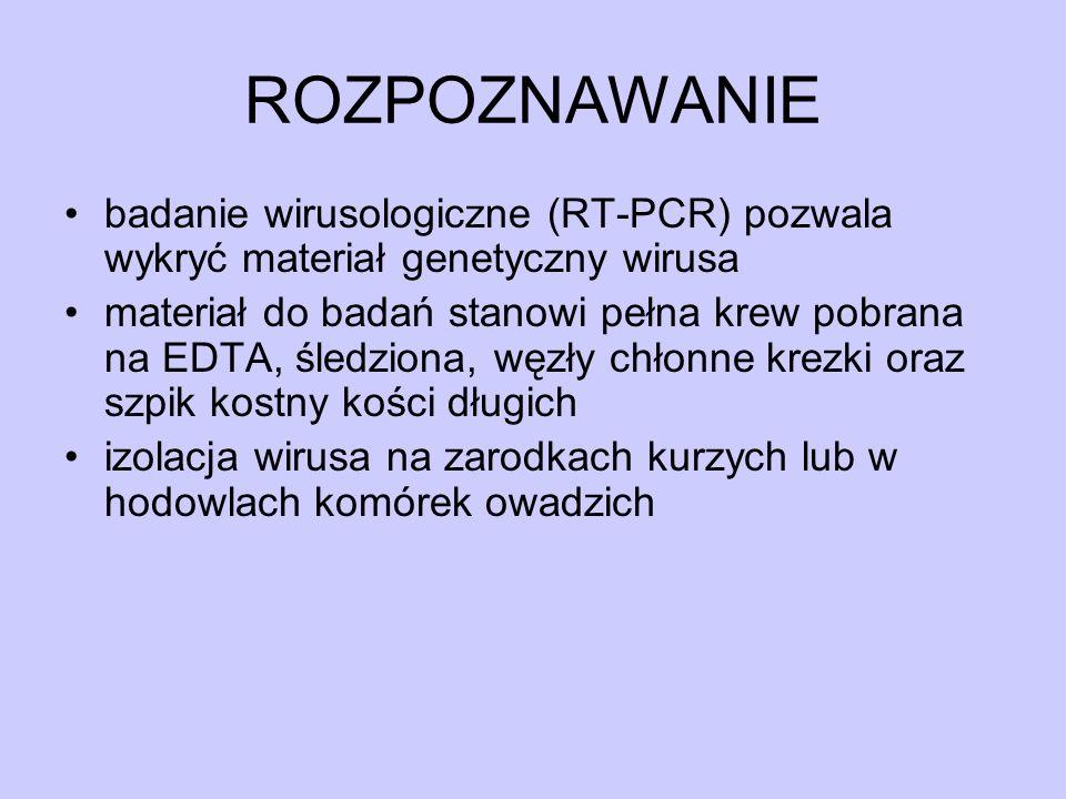ROZPOZNAWANIE badanie wirusologiczne (RT-PCR) pozwala wykryć materiał genetyczny wirusa.