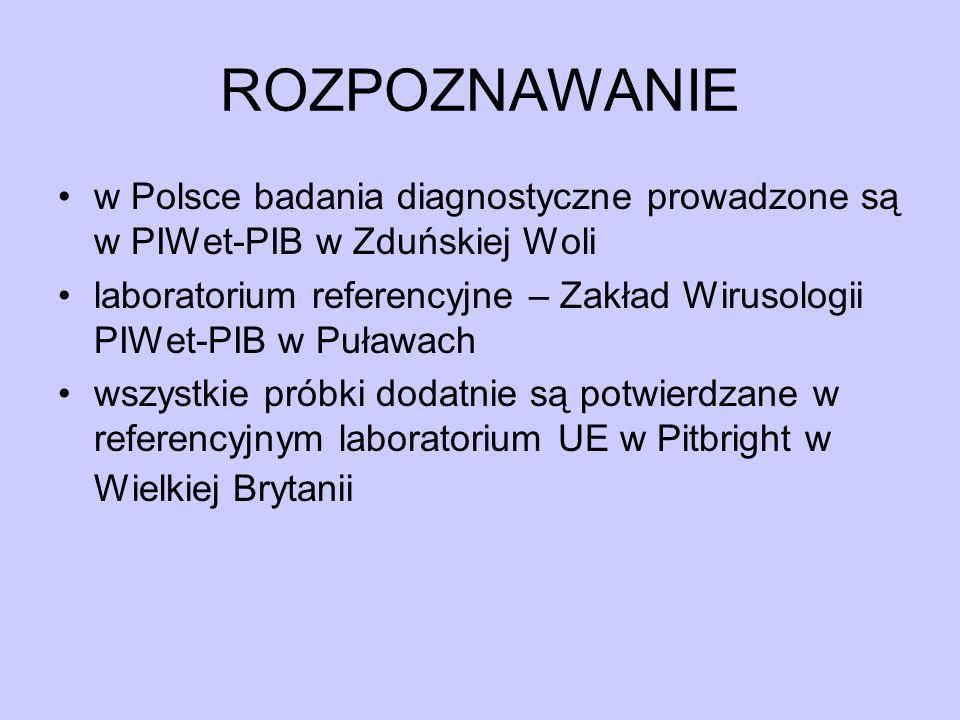 ROZPOZNAWANIE w Polsce badania diagnostyczne prowadzone są w PIWet-PIB w Zduńskiej Woli.