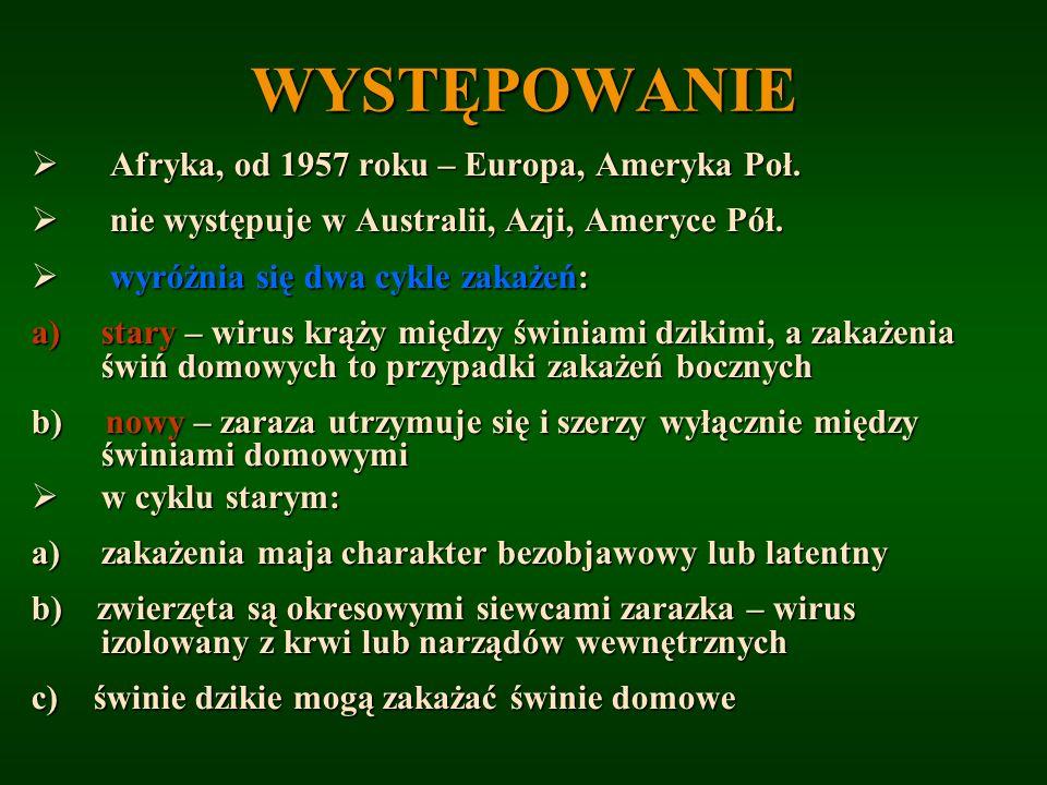 WYSTĘPOWANIE Afryka, od 1957 roku – Europa, Ameryka Poł.