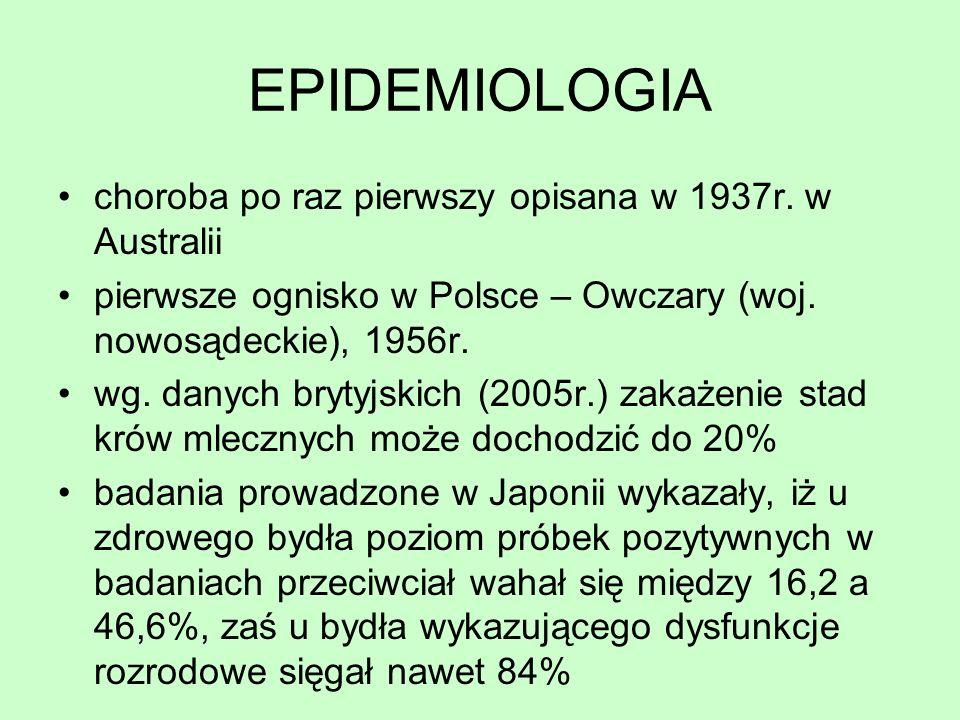 EPIDEMIOLOGIA choroba po raz pierwszy opisana w 1937r. w Australii