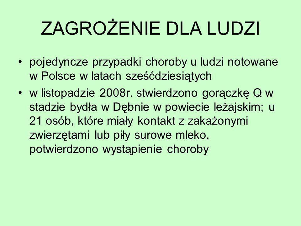 ZAGROŻENIE DLA LUDZI pojedyncze przypadki choroby u ludzi notowane w Polsce w latach sześćdziesiątych.