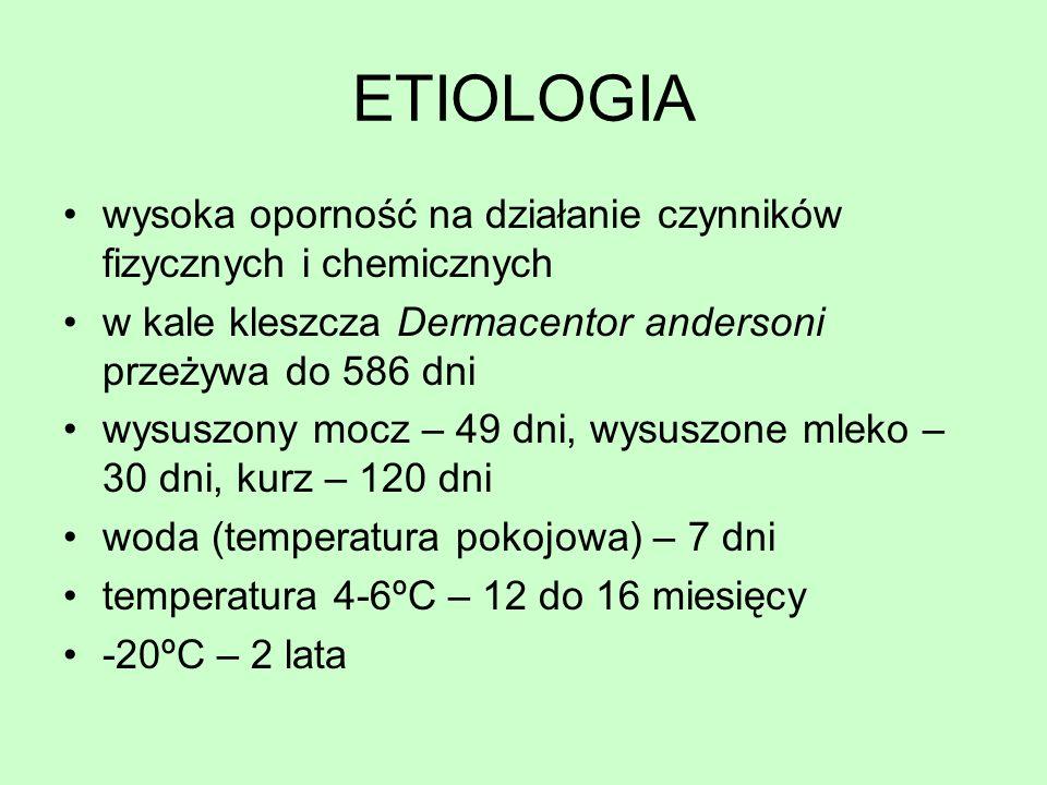 ETIOLOGIA wysoka oporność na działanie czynników fizycznych i chemicznych. w kale kleszcza Dermacentor andersoni przeżywa do 586 dni.