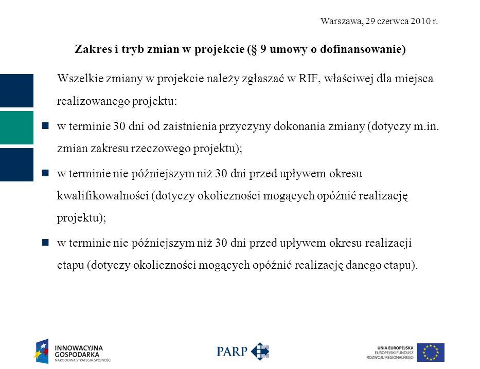 Zakres i tryb zmian w projekcie (§ 9 umowy o dofinansowanie)